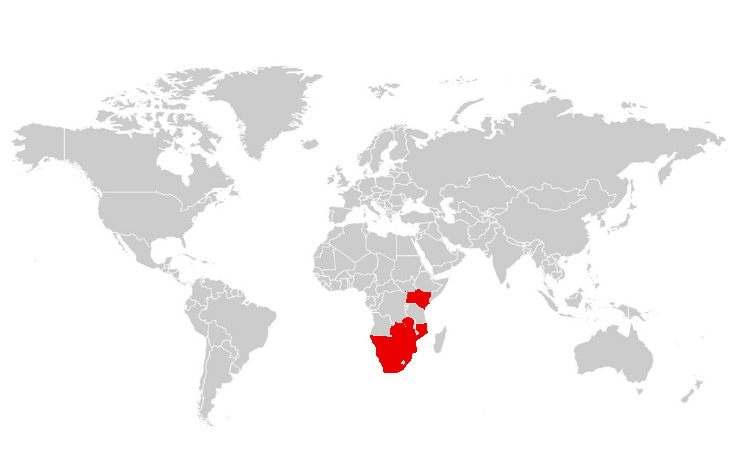 White rhino range and distribution